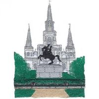 EMBROIDERED ST LOUIS CATHEDRAL WAFFLE TOWEL