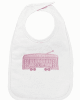 STREETCAR APPLIQUE EMBROIDERED BIB PINK