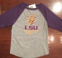 EMBROIDERED LSU RAGLAN T SHIRT