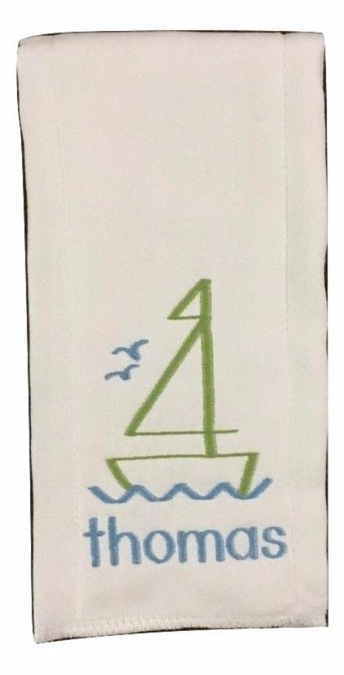 BURP CLOTH EMBROIDERED  SAILBOAT WITH NAME OR MONOGRAM