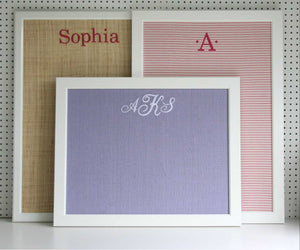 "MONOGRAM BULLETIN BOARD 25""x35"" BLACK OR WHITE FRAME"