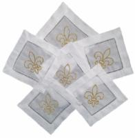 EMBROIDERED GOLD FLEUR de LIS COCKTAIL NAPKINS S/4