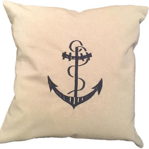 "NAUTICAL EMBROIDERED PILLOW 24""X24"" WITH INSERT"