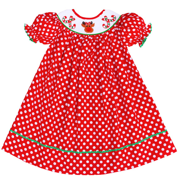 SMOCKED CHRISTMAS CANDY CANE DRESS