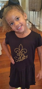EMBROIDERED SAINTS KNIT GIRLS DRESS