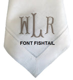 "MONOGRAM LINEN HEMSTITCH NAPKINS 22"" X 22"" SET OF 6"