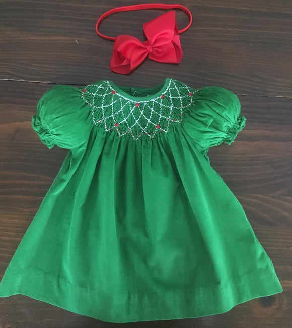 SMOCKED CHRISTMAS GREEN CORDUROY BISHOP DRESS