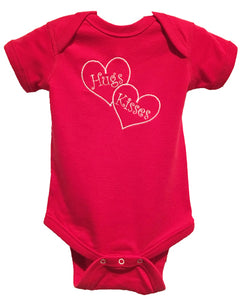 HUGS & KISSES EMBROIDERED ONESIE