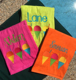EMBROIDERED BEACH TOWEL SNOWBALLS & NAME