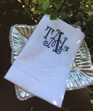 MONOGRAM LINEN BAR TOWEL OVERSIZED OR CAFE CURTAIN