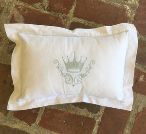 BLUE CROWN EMBROIDERED PILLOW