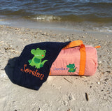 EMBROIDERED BEACH TOWEL ALLIGATOR & NAME