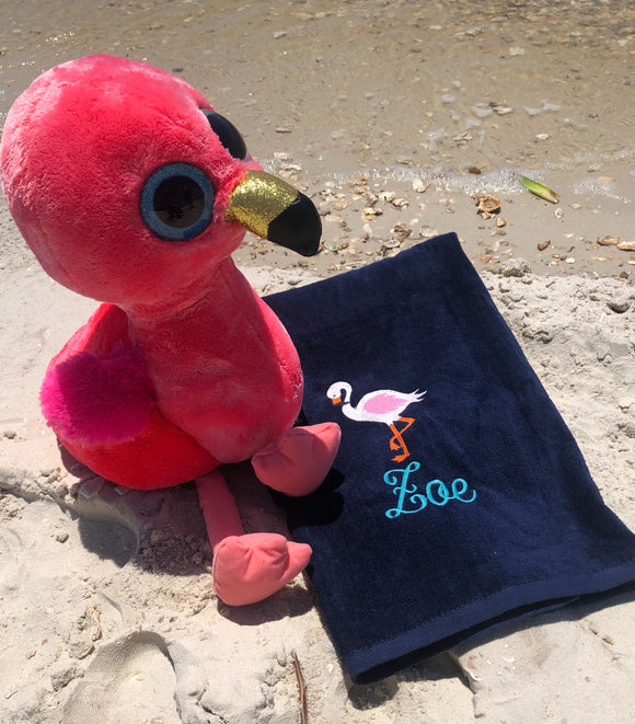 EMBROIDERED BEACH TOWEL FLAMINGO & NAME