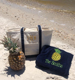 EMBROIDERED BEACH TOWEL PINEAPPLE  & NAME