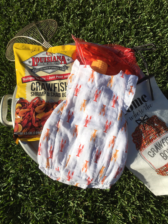 CRAWFISH PRINTED BABY SUNSUIT