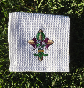 EMBROIDERED EASTER CROSS WAFFLE TOWEL