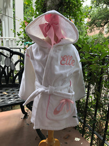 KIDS MONOGRAM HOODED ROBE or COVER UP BALLET SLIPPERS