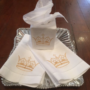 EMBROIDERED GUEST TOWEL GOLD CROWN LINEN