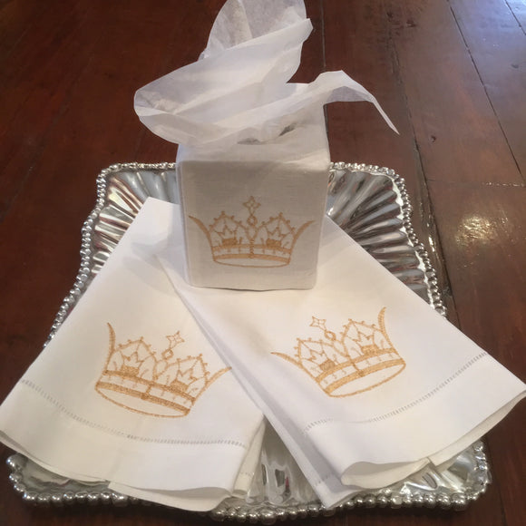 EMBROIDERED CROWN LINEN TISSUE BOX COVER