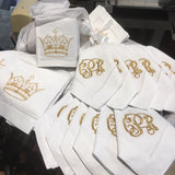 EMBROIDERED GOLD CROWN COCKTAIL NAPKINS S/4