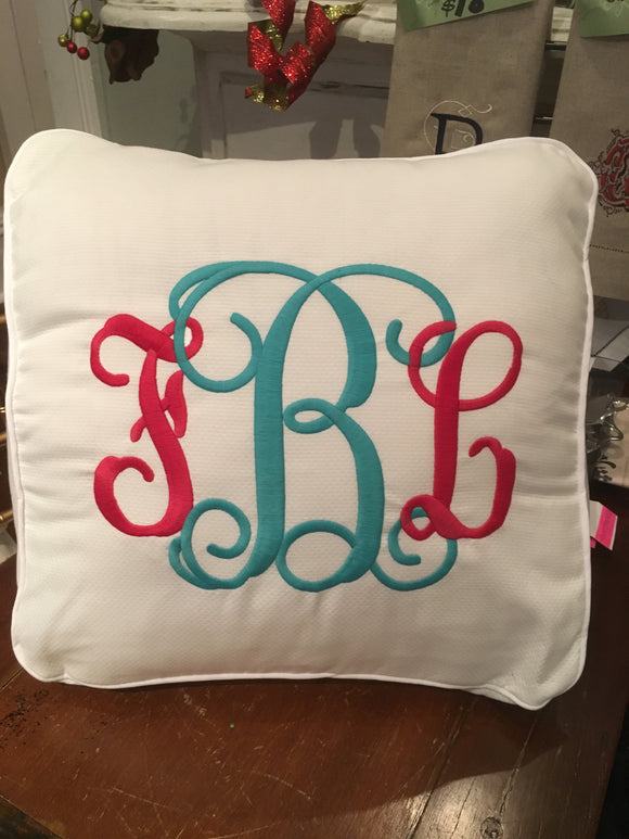 MONOGRAM WEDGE PIQUE PILLOW