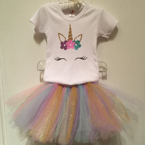 GIRLS UNICORN GLITTER T SHIRT