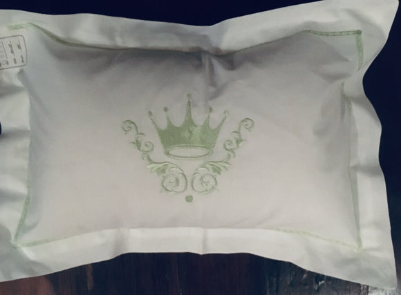 GREEN CROWN EMBROIDERED PILLOW