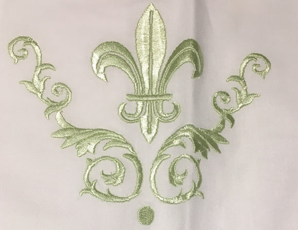 GREEN FLEUR DE LIS EMBROIDERED PILLOW