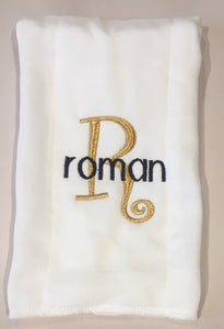 BURP CLOTH MONOGRAM  INITIAL & NAME