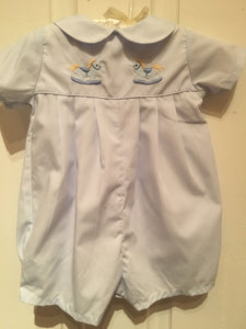 EMBROIDERED BABY BLUE ROMPER