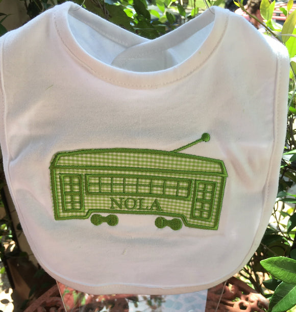 STREETCAR APPLIQUE EMBROIDERED BIB GREEN