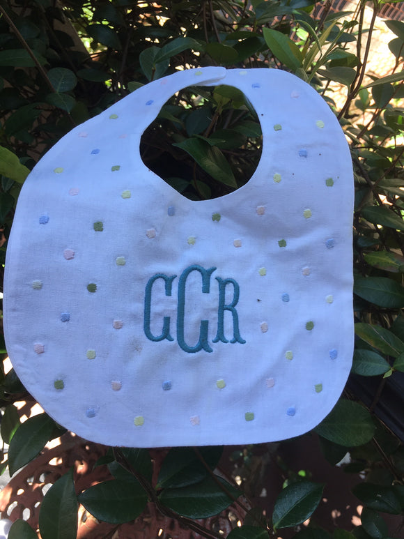MONOGRAM MUTLI COLOR DOT BABY BIB