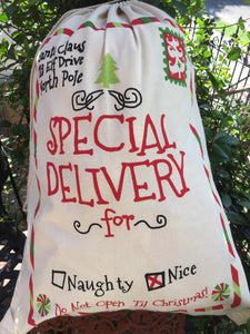 EMBROIDERED & PRINTED SANTA SACK SPECIAL DELIVERY