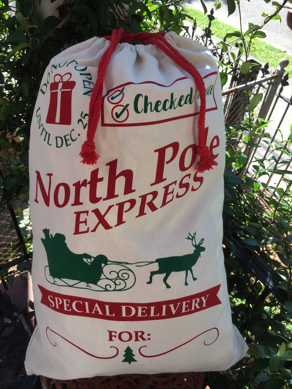 EMBROIDERED & PRINTED SANTA SACK DO NOT OPEN UNTIL CHRISTMAS