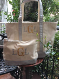 MONOGRAM METALLIC  CANVAS MEDIUM NATURAL TOTE BAG