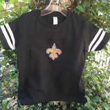 EMBROIDERED SAINTS FLEUR DE LIS FOOTBALL T SHIRT