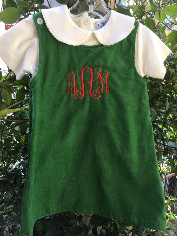 MONOGRAM CORDUROY JUMPER GREEN