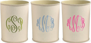 EMBROIDERED MONOGRAM LINEN WASTE BASKET