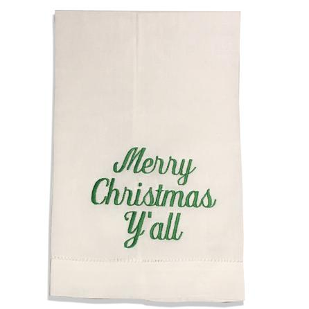 EMBROIDERED LINEN GUEST TOWEL MERRY CHRISTMAS Y'ALL GREEN