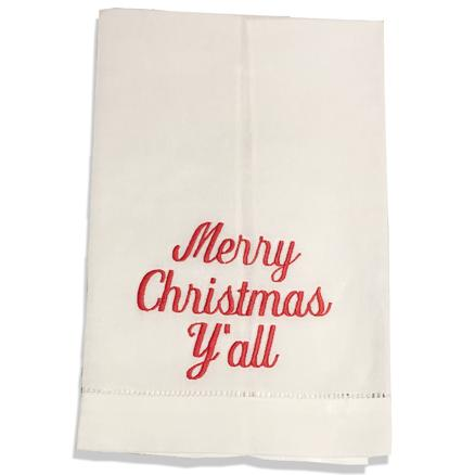 EMBROIDERED LINEN HAND or GUEST TOWEL MERRY CHRISTMAS Y'ALL RED