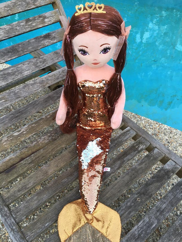 Ty GINGER Mermaid - Sequin BROWN Large Mermaid by Ty