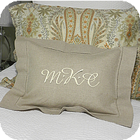 MONOGRAM PILLOW HEMSTITCH LINEN NATURAL 12