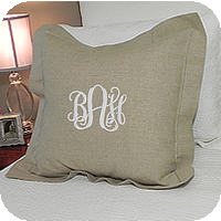 MONOGRAM EURO SQUARE PILLOW HEMSTITCH LINEN NATURAL 26