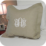 "MONOGRAM EURO SQUARE PILLOW HEMSTITCH LINEN NATURAL 26""X 26"" FLANGE & INSERT"