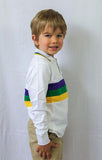 MARDI GRAS RUGBY WHITE WITH CHEST STRIPE