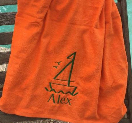 MONOGRAM BEACH TOWEL SAILBOAT & NAME