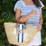 PAINTED MONOGRAM PALM LEAF STRAW TOTE