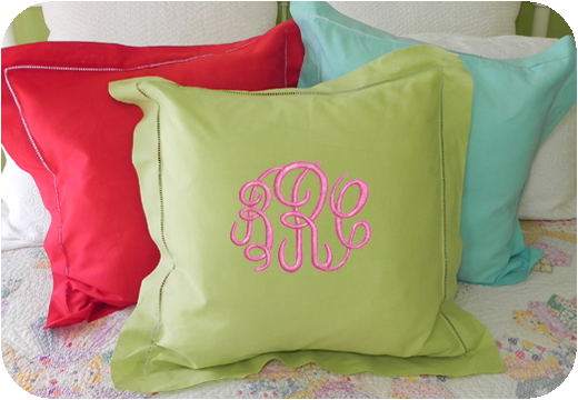 MONOGRAM EURO SQUARE PILLOW HEMSTITCH LINEN COLORS 26