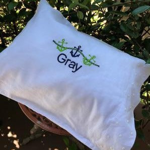 MONOGRAM PILLOW EMBROIDERED DOTS LIGHT GREEN WITH INSERT