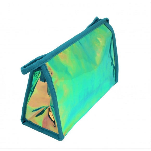 MONOGRAM AQUA HOLOGRAPHIC MAKEUP BAG or POUCH